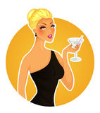 Beautiful woman with cocktail Stock Photos