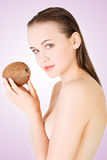 Beautiful woman with coconut Stock Photo