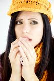 Beautiful woman with cold allergy and yellow hat isolated Royalty Free Stock Photos