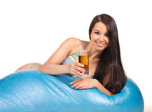 Beautiful woman with cold tea Stock Image