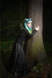 Beautiful woman with color hair and horns in the forest holds a tree Stock Photography