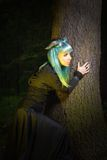 Beautiful woman with color hair and horns in the forest holds a tree Stock Images