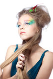 Beautiful woman  with color makeup Royalty Free Stock Photos