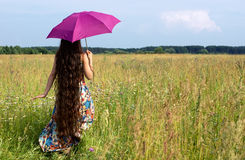 Beautiful woman with color umbrella Royalty Free Stock Photos