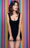 Beautiful woman on the colorful background Royalty Free Stock Photo