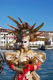 Beautiful woman in colorful costume and mask, Piazza San Marco Royalty Free Stock Image