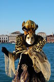 Beautiful woman in colorful costume and mask, view on Piazza San Marco Royalty Free Stock Photo