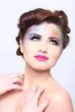 Beautiful Woman With Colorful Creative Cosmetics Royalty Free Stock Photo