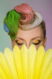 Beautiful woman with colorful hair Stock Image