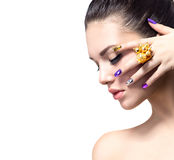 Beautiful woman with colorful nails royalty free stock photos