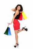 Beautiful woman with colorful shopping bags Royalty Free Stock Images