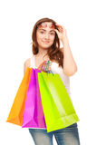 Beautiful woman with colorful shopping bags Royalty Free Stock Photo