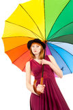 Beautiful woman with colorful umbrella Stock Photos