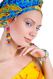 Beautiful woman with colourful accessories. Studio shot stock image