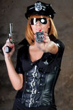 Beautiful woman comic police Stock Photo