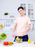 Beautiful woman cooking Royalty Free Stock Photo
