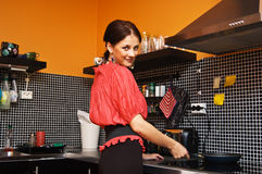 Beautiful woman cooking Royalty Free Stock Photos