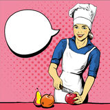 Beautiful woman cooking. Vector illustration in retro pop art style. Female chef in uniform. Restaurant concept.  Stock Image