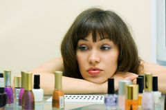 Beautiful woman with cosmetics. Royalty Free Stock Photo
