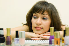 Beautiful woman with cosmetics Stock Images