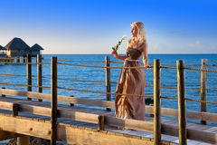 The beautiful woman costs with a white rose in hands on the wooden road over the sea during a sunset Stock Photography