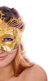 Beautiful Woman in Costume Mask Stock Images