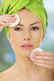 Beautiful woman with cotton pads. Stock Images