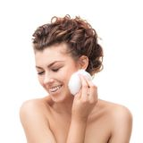 Beautiful woman with cotton sponge Stock Photos