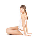 Beautiful woman in cotton underwear Royalty Free Stock Photography
