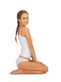 Beautiful woman in cotton undrewear Stock Photos