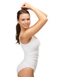 Beautiful woman in cotton undrewear Stock Photography