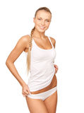 Beautiful woman in cotton undrewear Stock Images