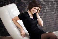 Beautiful woman on the couch Royalty Free Stock Photo