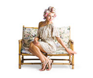 Beautiful woman on couch Royalty Free Stock Photography
