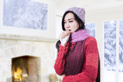 Beautiful woman coughing Stock Image
