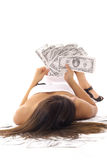 Beautiful woman counting money. Shot of a beautiful woman counting money Stock Photos