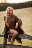Beautiful woman in countryside Royalty Free Stock Image