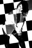 Beautiful woman covered with black and white squares Royalty Free Stock Photos