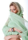 Beautiful woman is covered by a  green veil Royalty Free Stock Photos