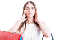 Beautiful woman covering her ears with both hands Royalty Free Stock Image