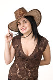 A beautiful woman in a cowboy hat Royalty Free Stock Photos