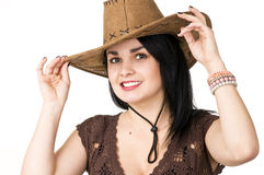 A beautiful woman in a cowboy hat Stock Photography