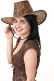 A beautiful woman in a cowboy hat Royalty Free Stock Image