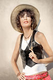 Beautiful woman in cowboy hat Stock Photography