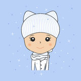 Beautiful woman in cozy winter hat with kitty ears, scarf and mittens. Young girl portrait. Cartoon character smiling. Vector illu Stock Photo