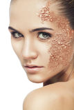 Beautiful woman with cracked powder Stock Photos