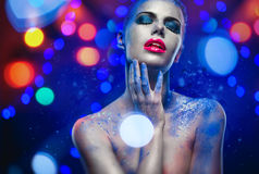 Beautiful woman with creative bright make-up Royalty Free Stock Images