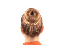 Beautiful woman with creative elegant hair bun. Royalty Free Stock Photos