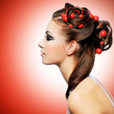 Beautiful woman with creative hairstyle Stock Photography