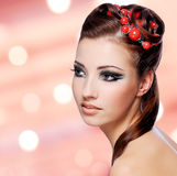 Beautiful woman with creative hairstyle Royalty Free Stock Photography